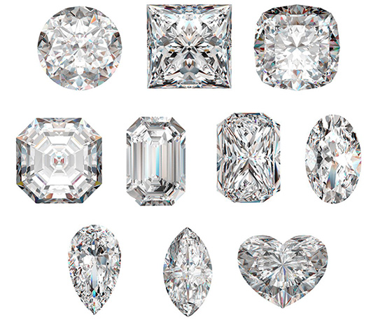 Pick your diamond - Round, Princess, Cushion, Emerald, Radiant, Oval, Pear, Marquise, and Heart.